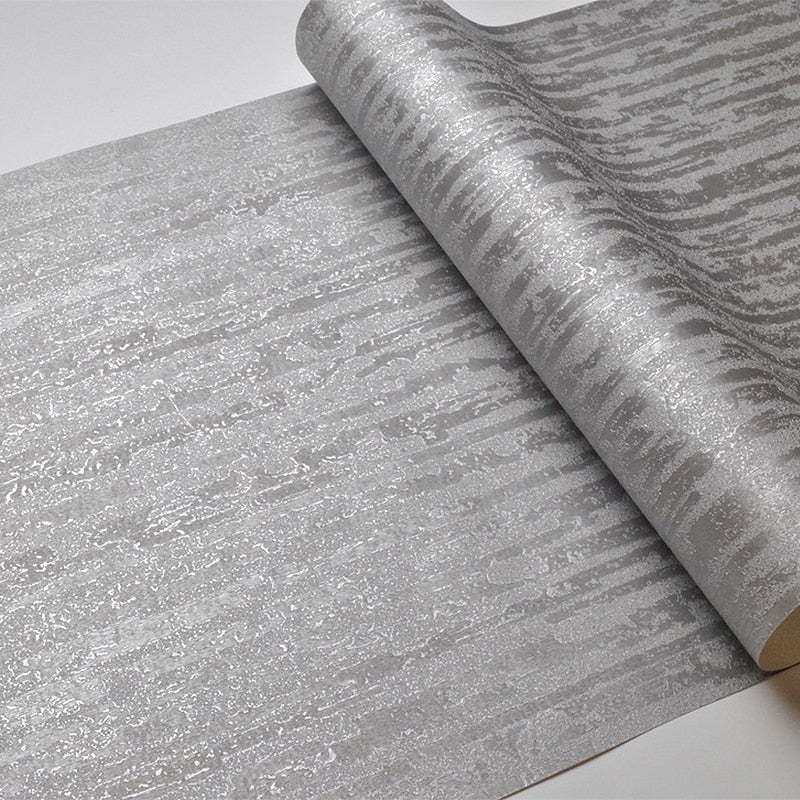 Modern Metallic Gray Silver Wallpaper Luxury Embossed Pattern Wall Covering For Living Room Dining Room Contemporary Home Decor Vinyl Wallpaper