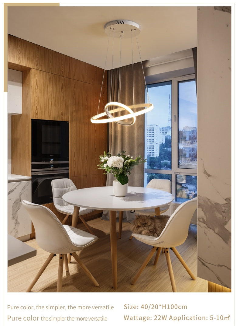 Modern Minimalist LED Chandelier With 3/4/5 Round Floating Light Rings Contemporary Abstract Lighting Rig For Living Room Dining Room Loft Home Office Decor