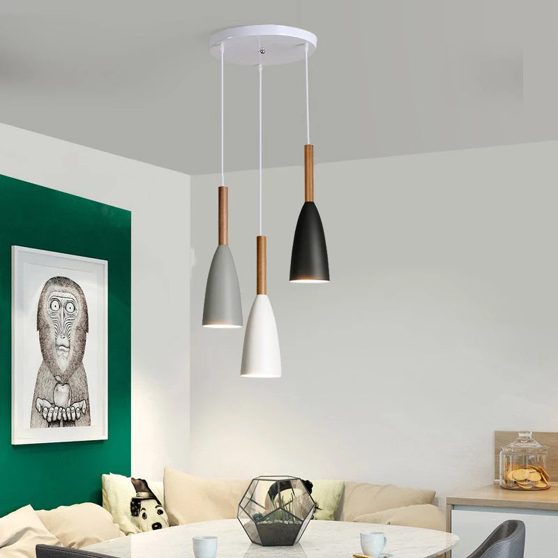 Modern Minimalist Pendant Lamps For Kitchen Nordic Style Hanging Lights For Living Room Cafe Bar Restaurant Finished In Aluminium And Wood Choose From Multiple Variations