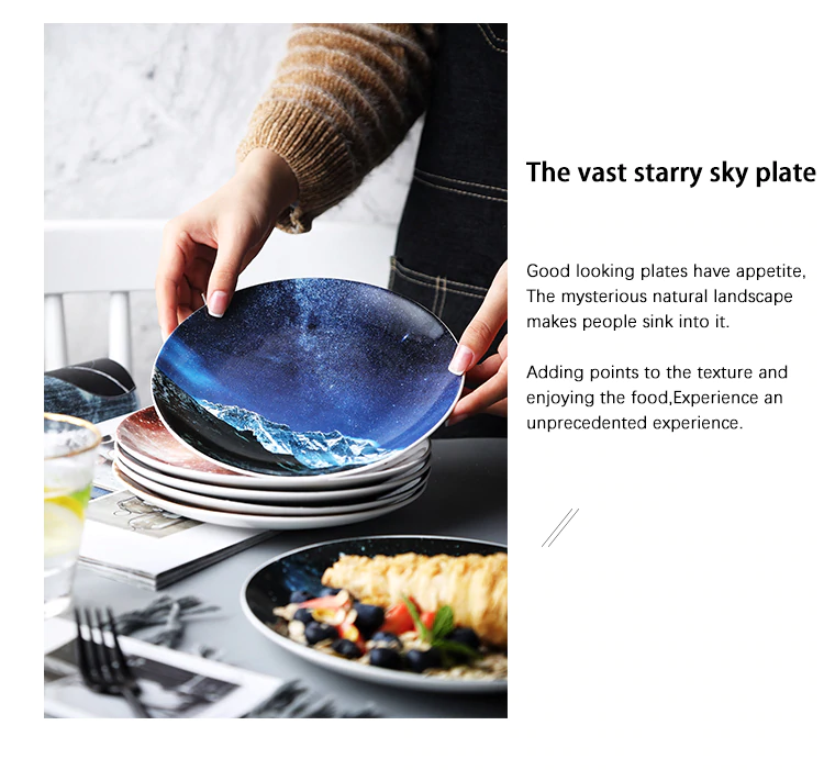 Mysterious Skies Solar System Galaxy Dinner Plates Ceramic Tableware Handcrafted By Artisans Perfect Fancy Gift For Adults And Kids