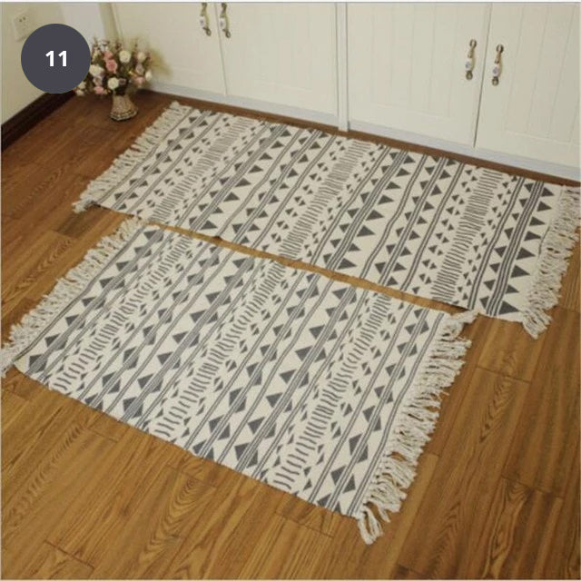 Natural Color Cotton Aztec Rug Soft Tassel Carpet Mat For Living Room Dining Room Carpet Door Mat Simple Nordic Style Decor