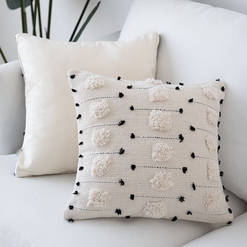 Natural Colors Nordic Cushion Cover For Sofa Cushions Black White Woven Cotton Geometric Style Pillow Cover For Living Room Bedroom Stylish Home Decor 45x45cm30x50cm