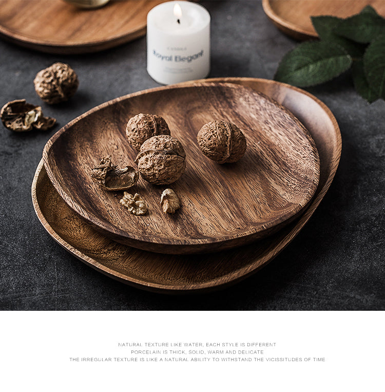 Natural Solid Wood Fruit Plates Abstract Oval Shape Dinner Dessert Wooden Tableware Cake Dish Wood Fruit Bowl Snack Trays
