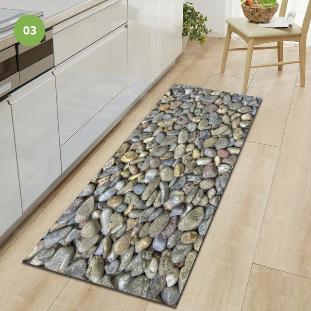 Non-Slip Kitchen Floor Pebble Mat 3D Effect Printed Anti-Slip Kitchen Floor Mat Water Absorbent Mat For Kitchen Gym Exercise Mat