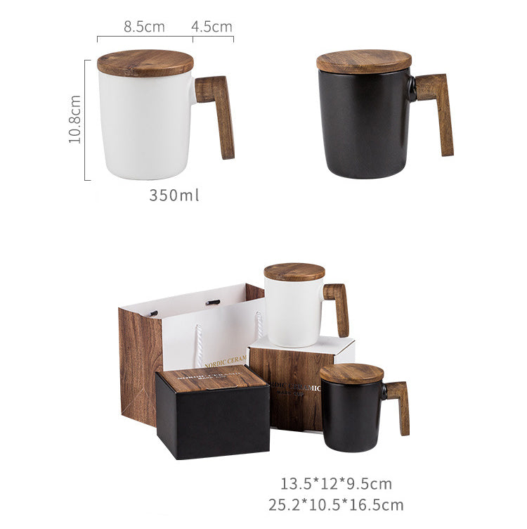 Nordic Coffee Cup Ceramic Retro Pottery With Wooden Handle + Cover Scandinavian Design Coffee Mug Gift Box Set For Coffee Lovers