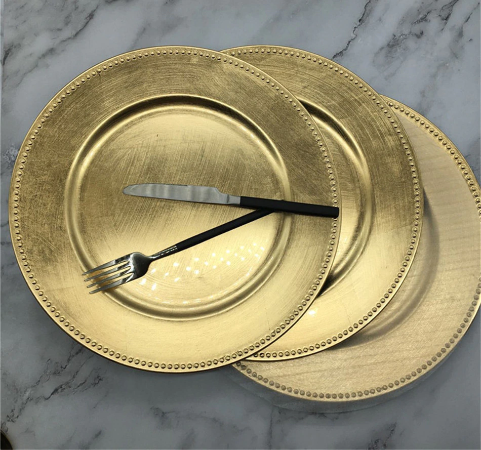 Nordic Gold Charger Plastic Plates  Pearl  Tray Decorative Salad Fruit Wedding Plates Dinner  Kitchen Plates