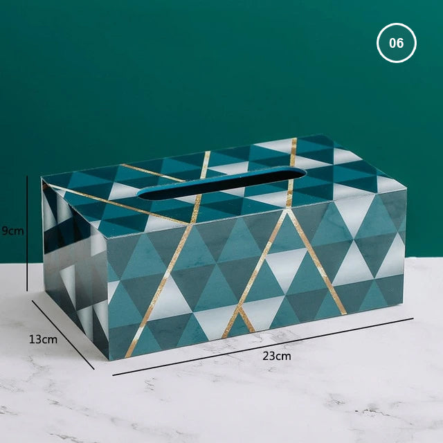Nordic Home Decorative Tissue Box Rigid Acrylic Marble Geometric Art Deco Design Stylish Dinner Table Desktop Tissue Case For Dispensing Napkins