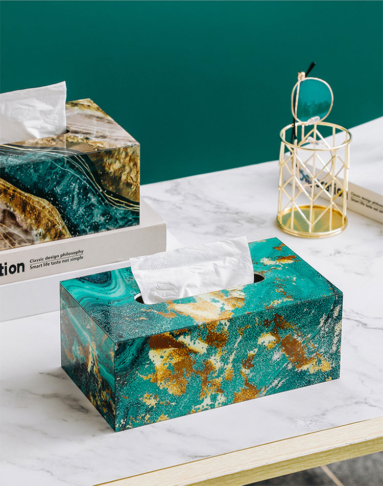 Nordic Home Decorative Tissue Box Rigid Acrylic Marble Geometric Design Stylish Coffee Table Dinner Table Desktop Tissue Case For Dispensing Napkins
