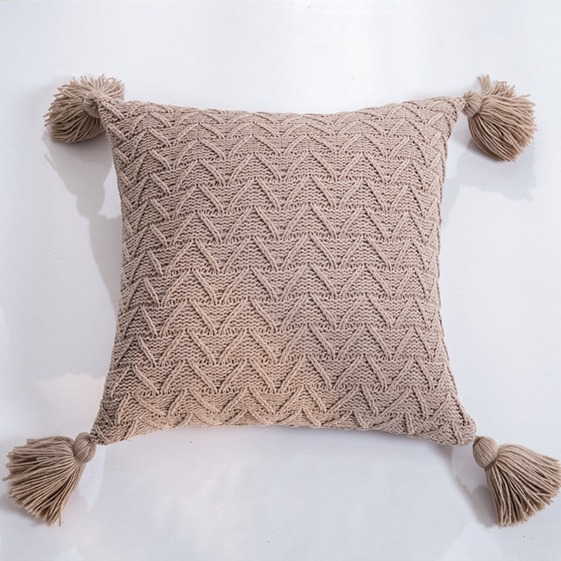 Nordic Knitted Twill Tasseled Cushion Case 45x45cm Subtle Colors Pink Gray Cream Blue Decorative Covers For Sofa Throw Cushions Latest Trends Stylish Home Decor