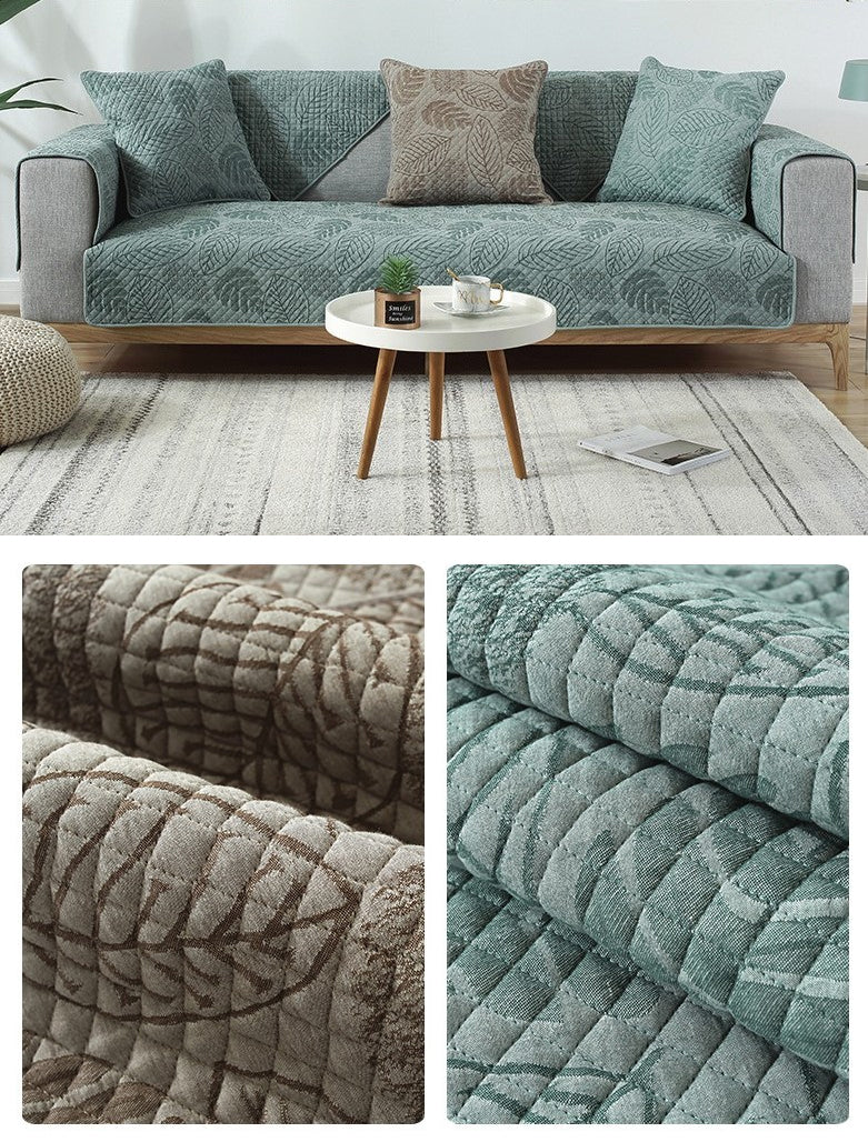 Nordic Living Room Sofa Cover Stylish Modern Furniture Covering Soft Quilted Jacquard Cotton Couch Cover For Sofa Armrests Cushion Covers in 2 Colors