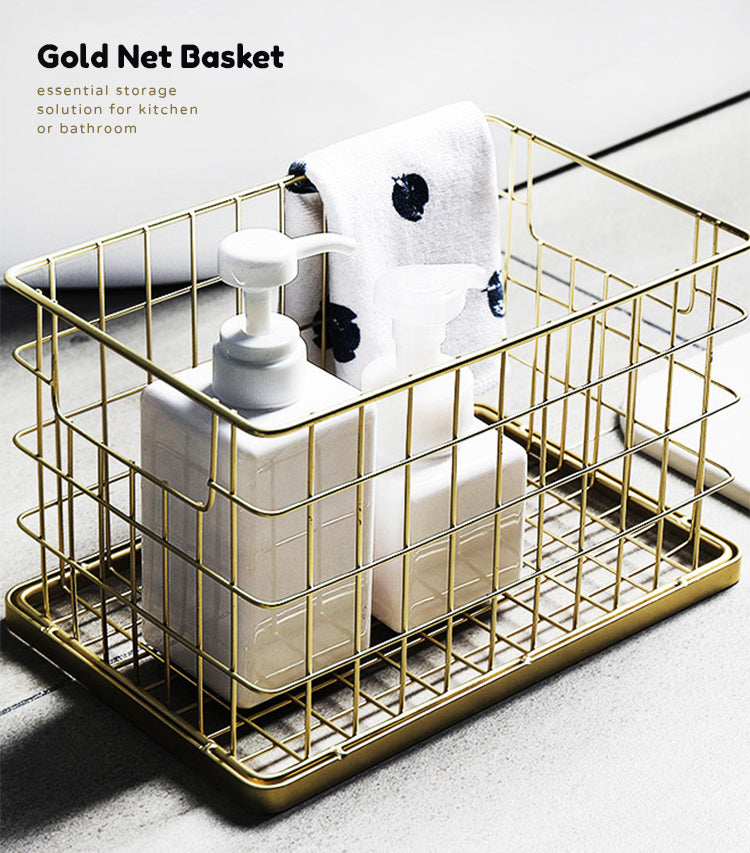 Nordic Luxury Handmade Gold Net Basket Organizer For Bathroom Accessories Cosmetics Towels Clothes Sundries Storage Basket For Washroom Kitchen Essentials