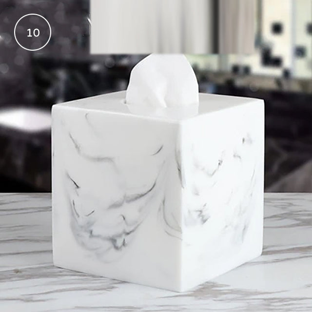 Nordic Marble Design Bathroom Storage Tray For Soap Dispenser Tissue Box Cosmetics Jewelry etc Black White Accessories For Luxury Hotel Home Office Washroom