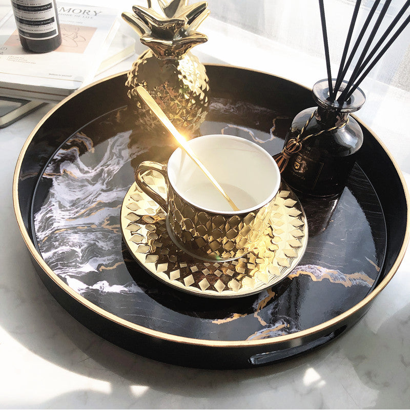 Nordic Style Decor Marble Storage Tray For Teacups Flowerpot Jewelry Tray Ornament Display Glamorous Design Interior Decor Coffee Table Decoration