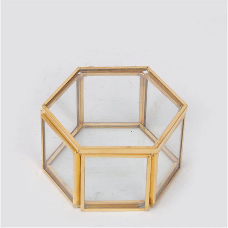 Nordic Style Geometric Polygon Transparent Gold And Glass Jewelry Storage Box Desktop Display Succulents Cactus Plant Pot