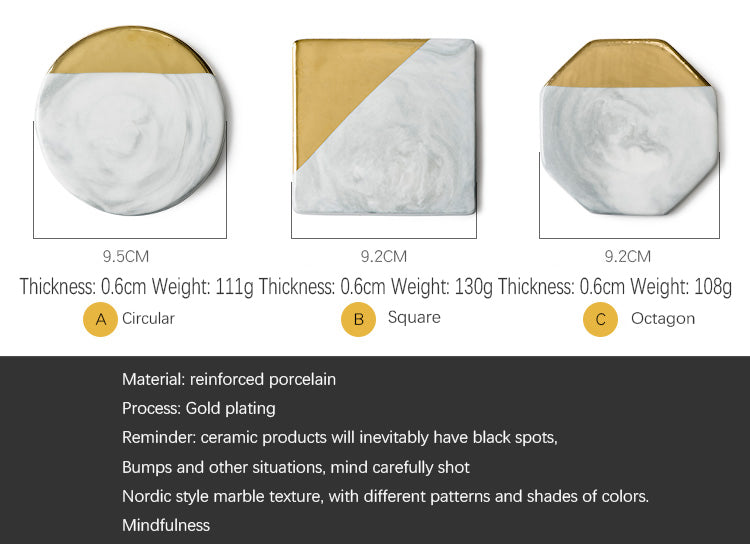 Nordic Style Gold And Marble Ceramic Coaster For Coffee Mugs Scandinavian Styling Kitchen Decor Mountain Mug Mats For Coffee Table & Kitchen Worktops