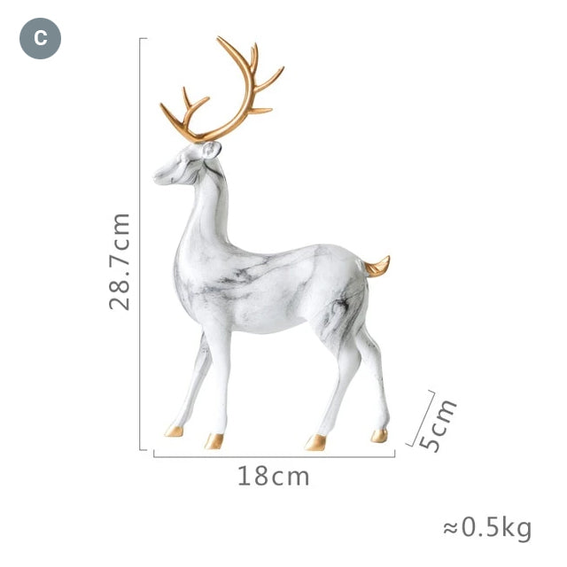 Nordic Style Marble Deer With Golden Antlers Ornamental Resin Crafted Figurines For Coffee Table Windowsill Fireplace Mantelpiece Modern Home Decoration
