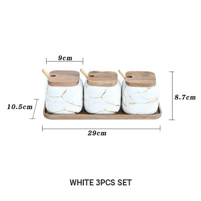 Nordic Style Marble Patterned Ceramic Kitchen Storage Jars Serving Pots With Wooden Lid Creative Stylish Kitchen Accessories For Modern Home Decor