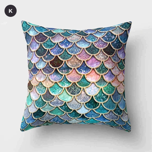 Nordic Style Marble Print Cushion Cases Colorful Pink Agate Thai Dye Geometric Cushion Covers For Modern Living Room Glam Home Decor