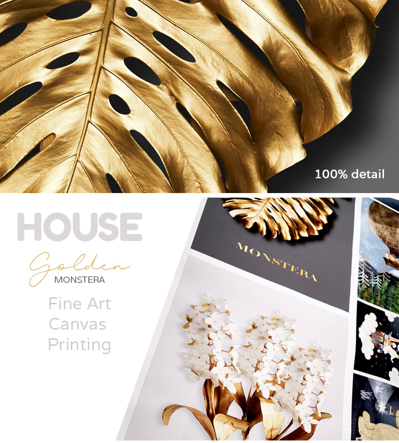 Nordic Tropical Golden Leaves Wall Art Modern Creative Fine Art Canvas Prints Minimalist Botanical Pictures For Luxury Living Room Salon Wall Art Decor