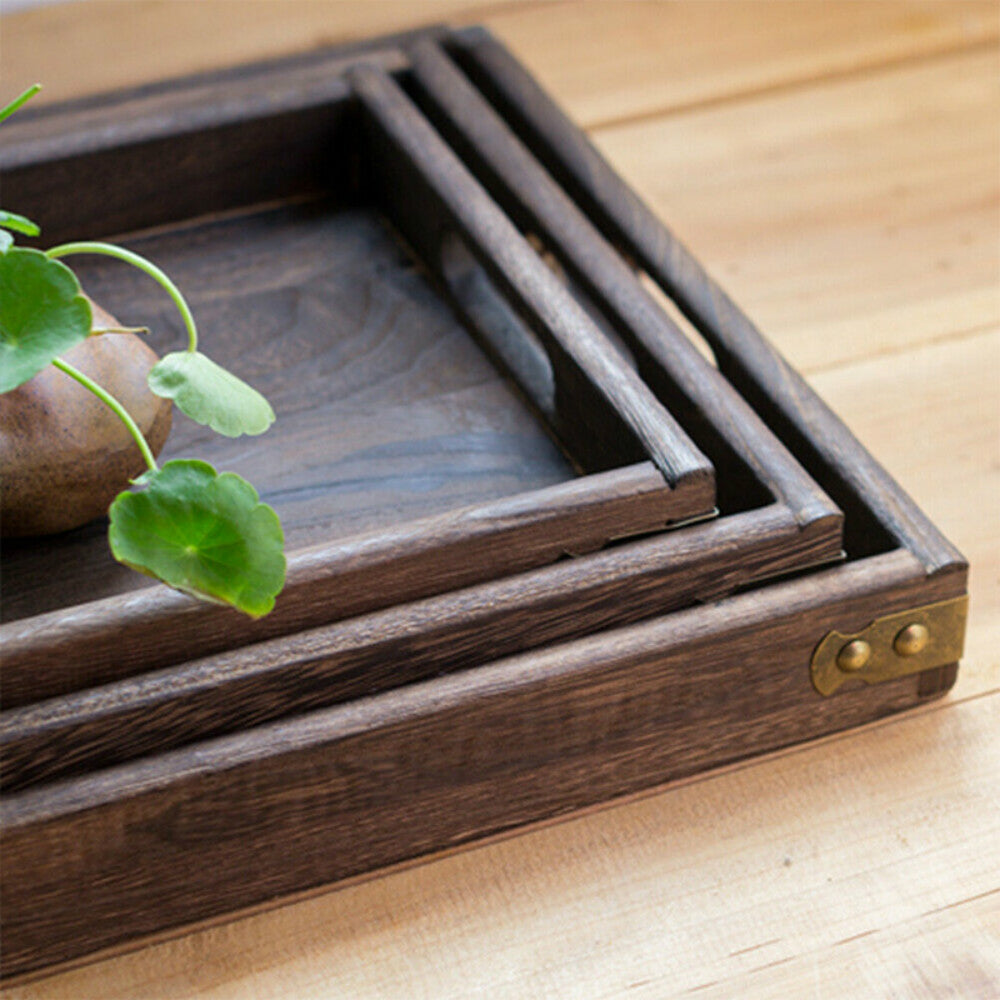 Nostalgic Retro Wooden Storage Tray For Kitchen Food Bathroom Cosmetics Tray Dinner Serving Tray Rectangle Tray For Handy Home Storage 3 Sizes 1 Piece