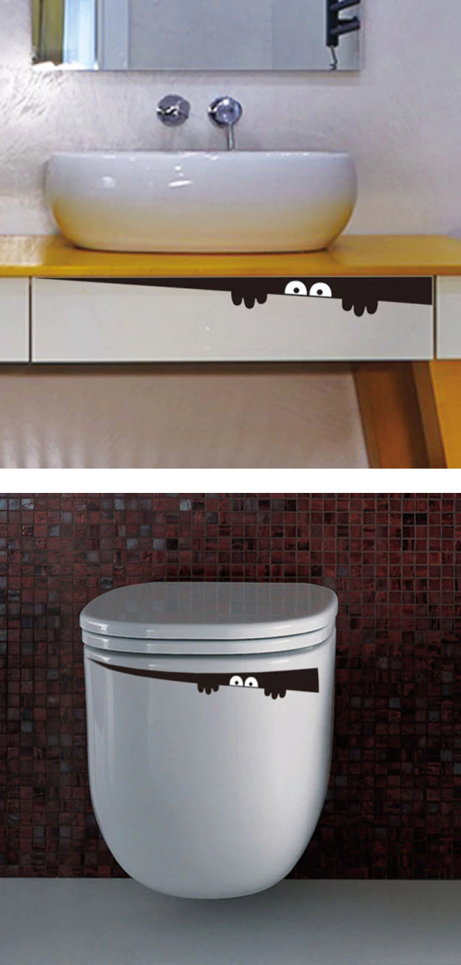 Peeping Toilet Monster Vinyl Decal Removable Sticker Hilarious Creepy Eyes Lurking In Your Toilet Funny Decal For Bathroom Decor