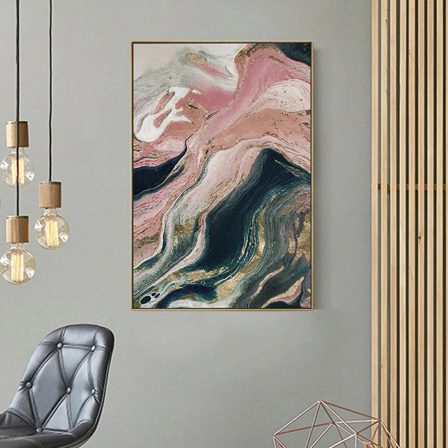 Pink Agate Marble Wall Art Picture For Living Room Fine Art Canvas Giclee Print For Modern Contemporary Office Or Home Interior Decor