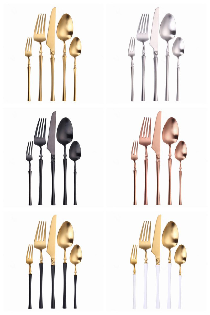 Premium Gold Cutlery Set High Quality Stainless Steel Knife Fork Spoon Sets For Dinner Table Gift Wedding Party Modern Luxury Dinnerware Essentials