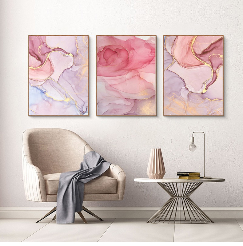 Purple Pink Abstracts Modern Contemporary Wall Art Fine Art Canvas Prints For Bedroom Or Living Room Pictures Office or Home Glam Interior Decor