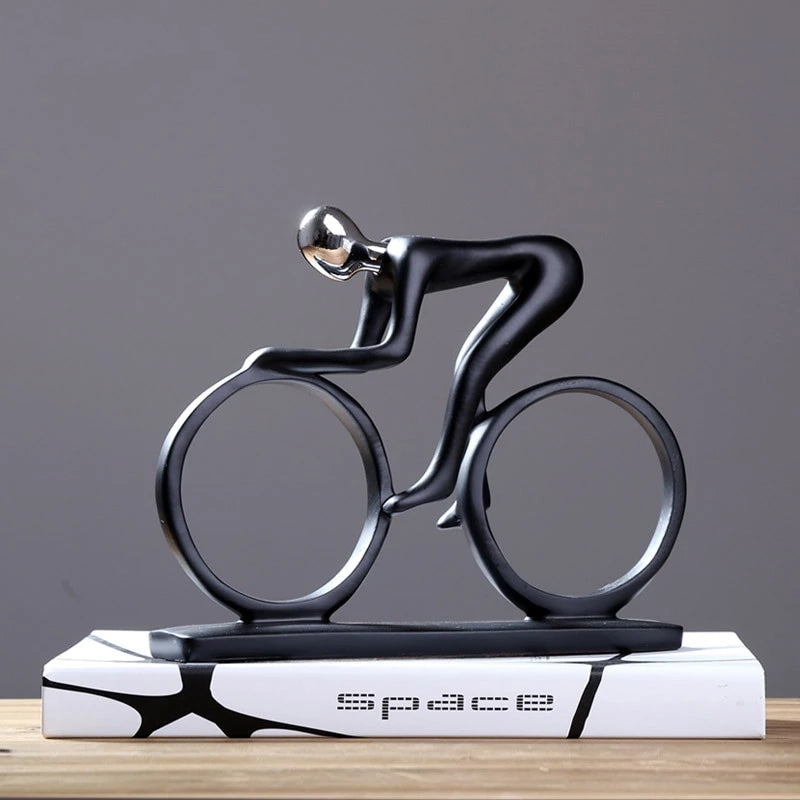 Racy Champion Cyclist Figurine Resin Statue Modern Abstract Bicycle Sculpture Athlete Art Ornament Gift For Keen Cyclists