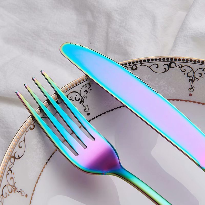 Rainbow Colored Cutlery Stainless Steel Knife Fork Spoon Modern Dinnerware Golden Silver Rose Gold Flatware Essential Contemporary Kitchen Accessories