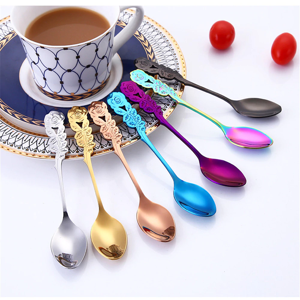 Rainbow Colored Stainless Steel Teaspoon Small Coffee Spoon Unique Contemporary Retro Home Decor Stylish Flatware Tableware