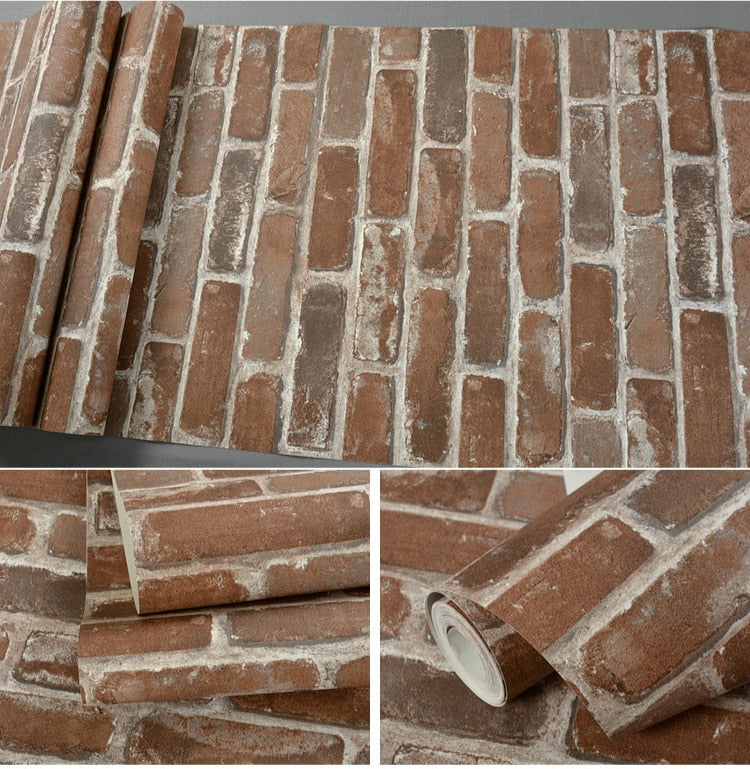 Realistic Faux Bricks Wallpaper Industrial Style Exposed Brickwork PVC Printed Wallpaper Wall Covering For Home Office Modern Loft Apartment Wall Decor