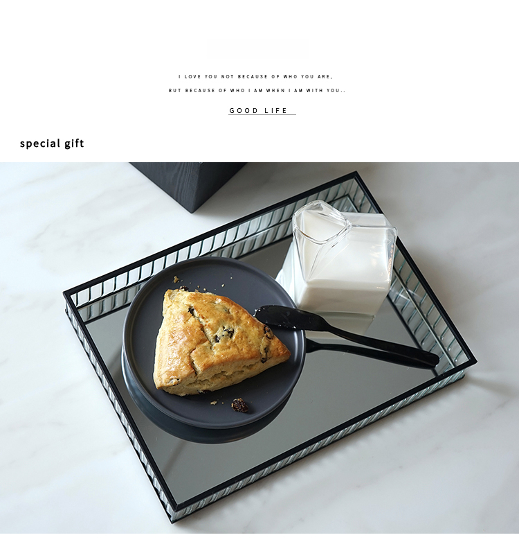 """<h3><span><b>Retro Decorative Glass Mirror Tray For Drinks Snacks Desserts Perfumesetc Mirrored Base With Black Silver Gold Metal Edges.</b></span></h3> <p><span><strong>Decription:</strong>Elegant Mirrored Tray With Gold Black Silver Metal Edges.</span><br><span><strong>Type:</strong>Home Decor Tray for drinks, desserts, house plants, ornaments etc.</span><br><span><strong>Material:</strong>Glass, Metal</span><br><span><strong>Item name:</strong> Glass tray</span><br><span><strong>Color:</strong> Gold/silver/black</span><br><span><strong>Size:</strong> 24x14cm, 28x20cm</span><br><span><strong>Material:</strong> Glass/mirror/metal</span><br><span><strong>Use for:</strong> Dinner/Coffee/dessert/jewelry/wine/perfume</span><br><span><strong>Occasion:</strong> Home/kitchen/showcase/party/wedding</span><br><span><strong>Quantity:</strong> 1 piece</span></p> <p><span><img src=""""https://cdn.shopify.com/s/files/1/0270/7796/7917/files/Retro_Decorative_Glass_Mirror_Tray_For_Drinks_Snacks_Desserts_Perfumes_etc_Mirrored_Base_With_Black_Silver_Gold_Metal_E_9.png?v=1576109967"""" alt=""""Retro Decorative Glass Mirror Tray For Drinks Snacks Desserts Perfumes etc Mirrored Base With Black Silver Gold Metal Edges""""></span></p> <p><span><img src=""""https://cdn.shopify.com/s/files/1/0270/7796/7917/files/Retro_Decorative_Glass_Mirror_Tray_For_Drinks_Snacks_Desserts_Perfumes_etc_Mirrored_Base_With_Black_Silver_Gold_Metal_E_3.png?v=1576110000"""" alt=""""Retro Decorative Glass Mirror Tray For Drinks Snacks Desserts Perfumes etc Mirrored Base With Black Silver Gold Metal Edges""""></span></p> <p><span><img src=""""https://cdn.shopify.com/s/files/1/0270/7796/7917/files/Retro_Decorative_Glass_Mirror_Tray_For_Drinks_Snacks_Desserts_Perfumes_etc_Mirrored_Base_With_Black_Silver_Gold_Metal_E_4.png?v=1576110021"""" alt=""""Retro Decorative Glass Mirror Tray For Drinks Snacks Desserts Perfumes etc Mirrored Base With Black Silver Gold Metal Edges""""></span></p> <p><span><img src=""""https://cdn.shopify.com/s/files/1/0270/7796/7917"""