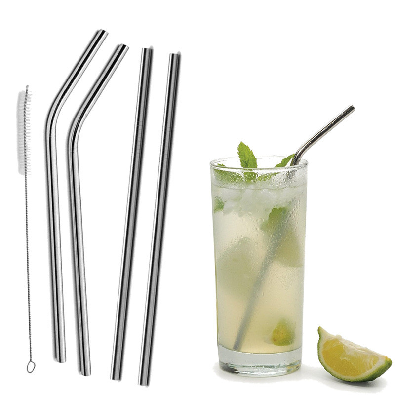 Reusable Metal Drinking Straws Stainless Steel Eco Friendly Long Straws For Everyday Use Cocktail Party Bar Accessories Bent Or Straight Straws