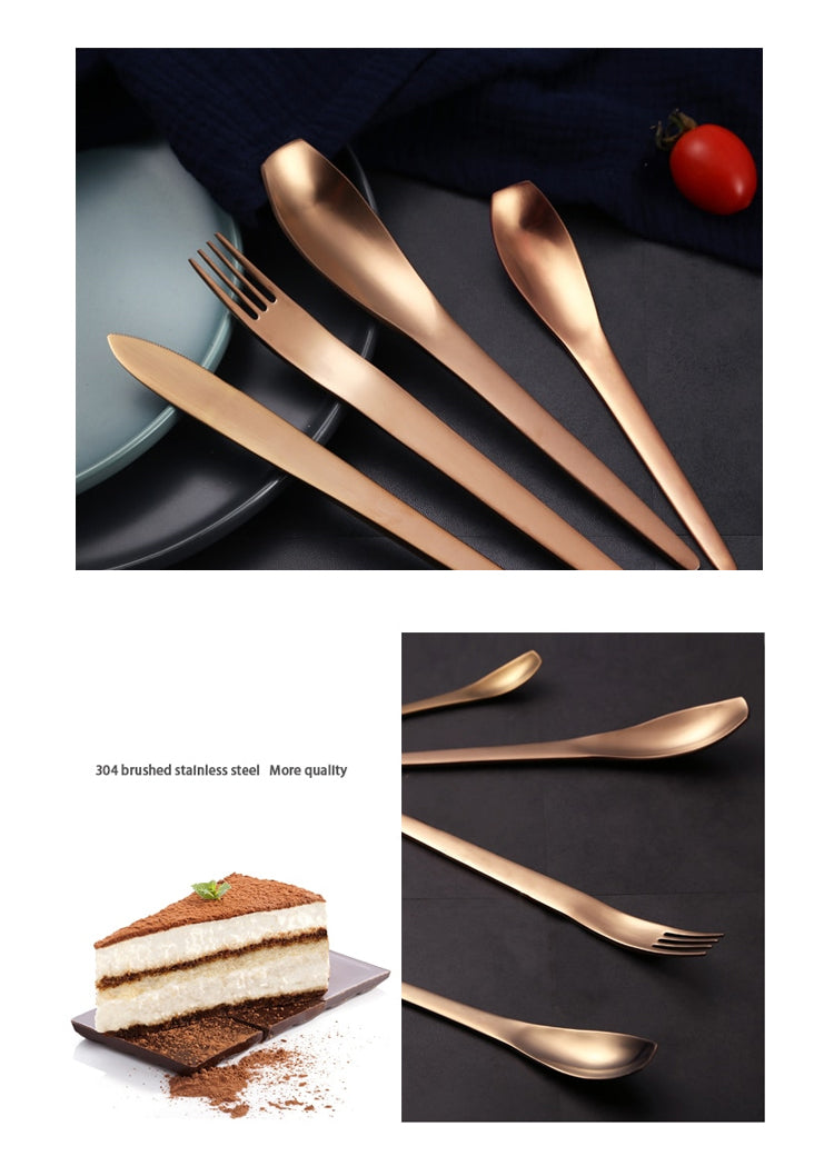 Rose Gold Stainless Steel Modern Cutlery Set Contemporary Design Flatware Japanese Style Dinnerware Spoon Fork Knife Tableware Set Modern Home Decor Kitchen Dining Solutions
