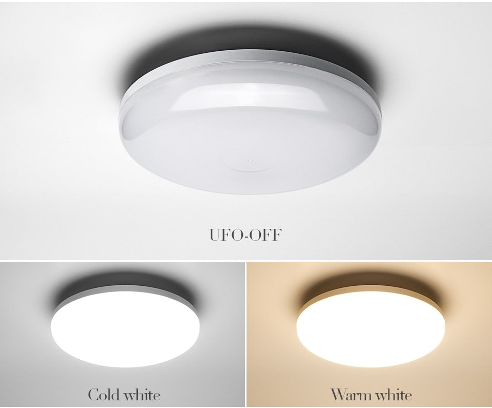Round White LED Ceiling Light Minimalist UFO Style Energy Saving Modern Bright Home Interior Lighting Solution For Living Room Dining Room Study Room Lights