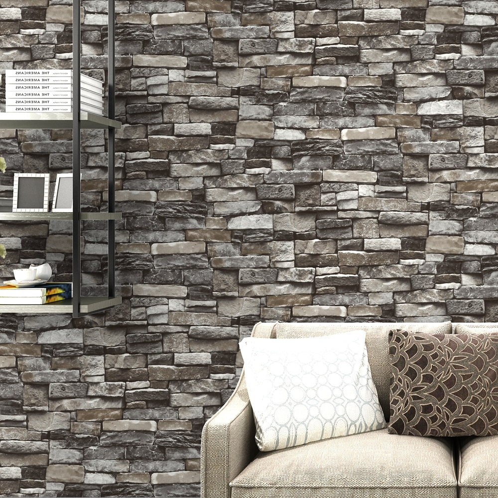 Rustic Gray Stone Red Brick Wallpaper 3D Design Retro Vintage Wall Covering For Living Room Bedroom Loft Apartment Modern Home Decor