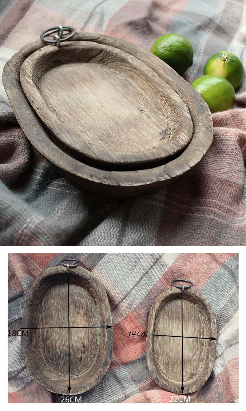 Rustic Handmade Wooden Bread Tray Modern Vintage Farmhouse Style Kitchen Storage Plate For Fruit Vegetables Kitchen Accessories Storage Display Solutions
