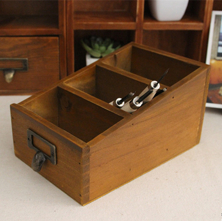 Rustic Wood Box Storage For Craft Supplies Cosmetics Tools etc Authentic Vintage Filing Cabinet Drawer Style Sundries Organizer