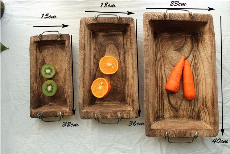 Rustic Wood Log Tray Natural Vintage Wooden Serving Tray Decorative Table Fixture For Fruits Vegetables Snacks Dessert Etc Handmade Festive Table Decoration
