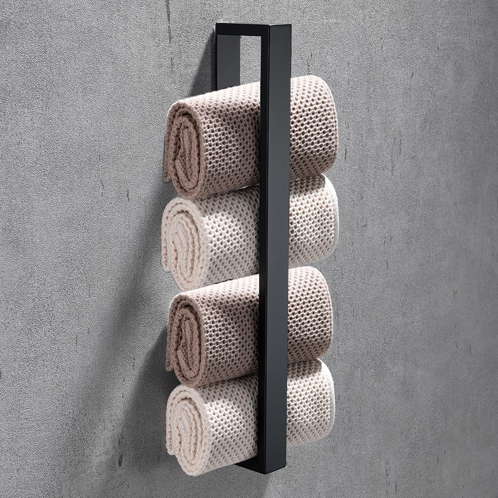 Square Design Stainless Steel Contemporary Bathroom Towel Rack Wall Mounted Requires No Drilling 3 Colors Matte Black Silver Chrome & Brushed Nickel