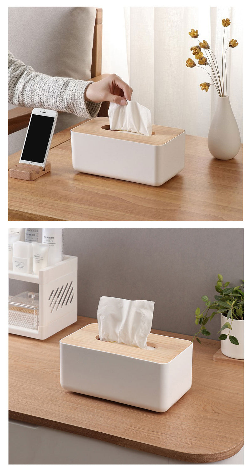 Scandinavian Tissue Box Wooden Lid Multipurpose Plastic Container Simple Modern Home Accessories Nordic Style For Kitchen Living Room Table
