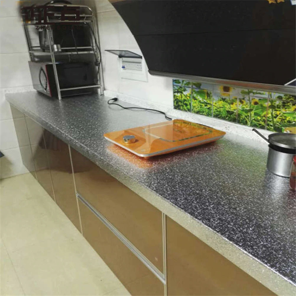 Self Adhesive Aluminum Foil Surface Covering For Kitchen Cabinets Draws Worktops Backsplash Wallpaper Stickers Wipe Clean Oil Proof Waterproof Wall Covering - 1 Roll  4 Sizes