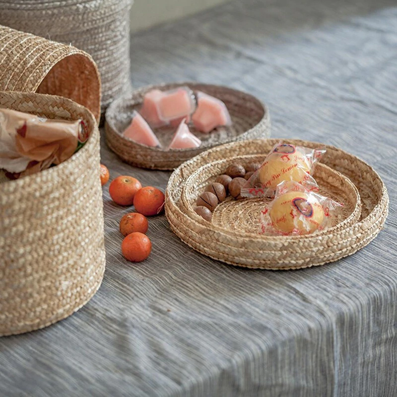 Set of 3 Woven Seagrass Storage Baskets With Lid Foldable Multiple Purpose Hand Woven Environmentally Friendly Laundry Baskets For Living Room Children's Room etc