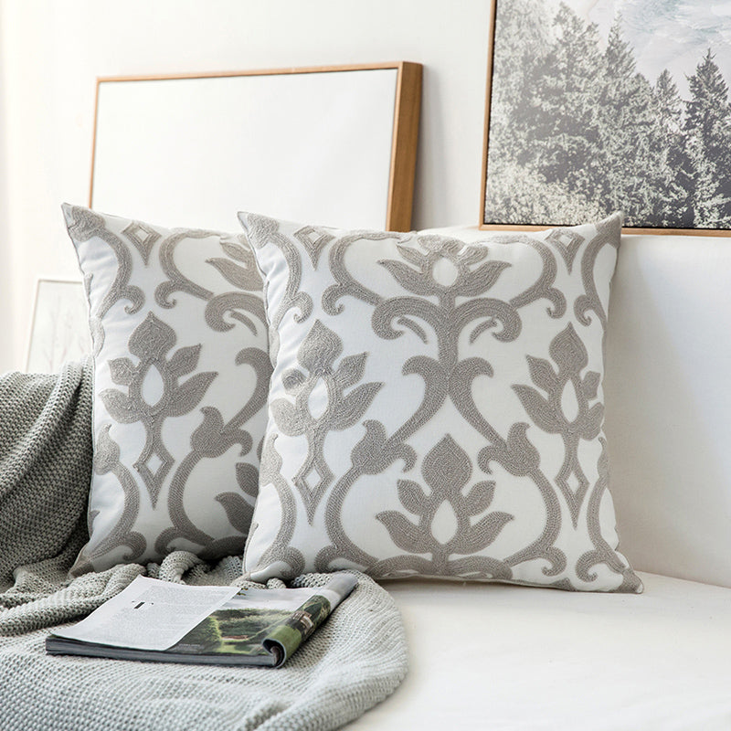 Shades of Gray Geometric Embroidery Cushion Cover 45x45cm For Sofa Cushions Square Designer Modern Pillow Cases For Living Room Bedroom Contemporary Home Decor