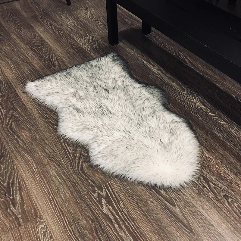 Shaggy Sheepskin Fluffy Rug Faux Fur Carpet Mat For Living Room Bedroom Bath Rug Washable Realistic Decorative Faux Fur