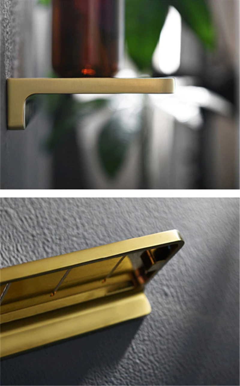 Shiny Brass Bathroom Shelf Shower Rack For Holding Towel And Accessories Polished Brass Bathroom Fixtures And Fittings