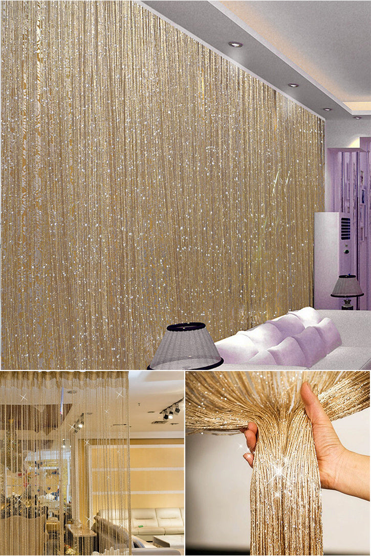 Shiny String Tassels Curtain Decorative Partition For Walls Room Dividers Doorways Privacy String Curtain For Living Room Bedroom Stylish Home Decor