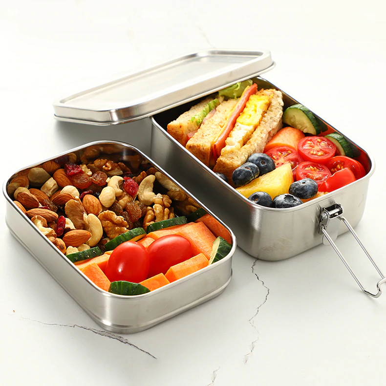 Shockproof Stainless Steel Lunch Box Food Container Double Layer Leakproof Food Storage Box For Kitchen Picnics Travel Great For Packing In Car For Camping etc