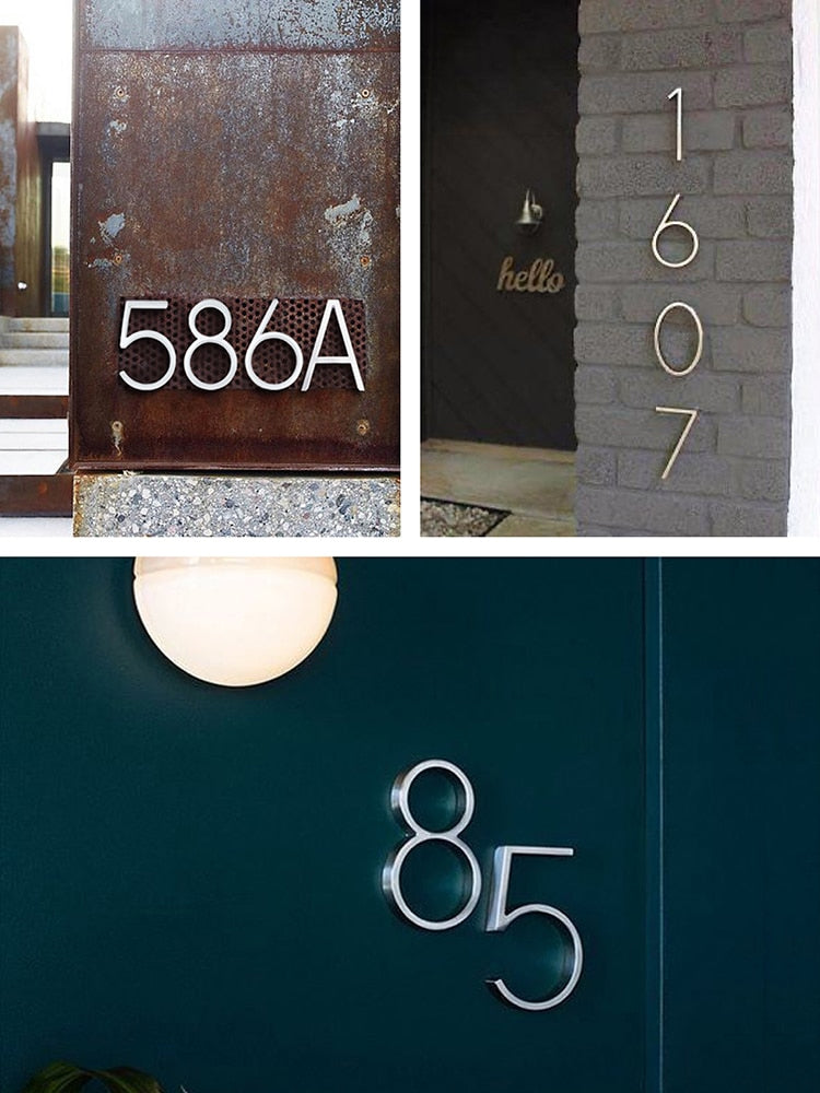 Silver Floating House Numbers For Front Door 12cm Numbers #0-9 Alphabet Letters ABC Zinc Alloy Weather Resistant Modern Outdoor Signage